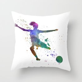 Woman soccer player 03 in watercolor Throw Pillow