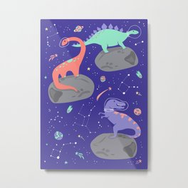 Dinosaurs Floating on Asteroids - Purple Metal Print