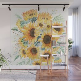 Loose Watercolor Sunflowers Wall Mural
