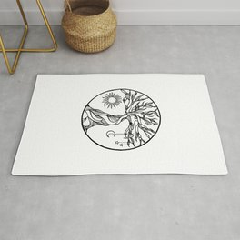 black and white tree of life with hanging sun, moon and stars I Rug