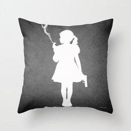 Kids today - Girl smoking and holding a gun. Throw Pillow