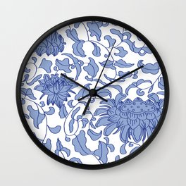 Chinoiserie Vines in Delft Blue + White Wall Clock