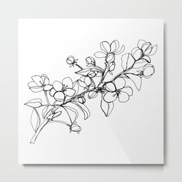 Apple Blossoms, A Continuous Line Drawing Metal Print
