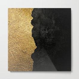 Gold torn & black grunge Metal Print