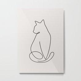 One Line Kitty Metal Print