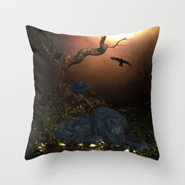 Awesome sleeping wolf in the night Throw Pillow