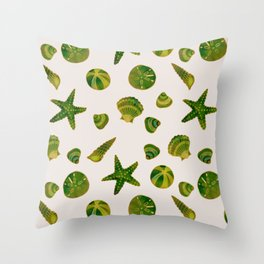 Beach Treasures - Green Throw Pillow