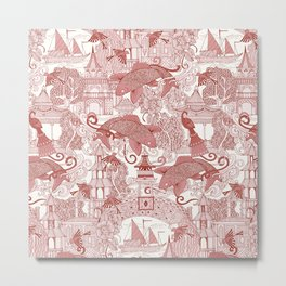 chinoiserie toile red Metal Print