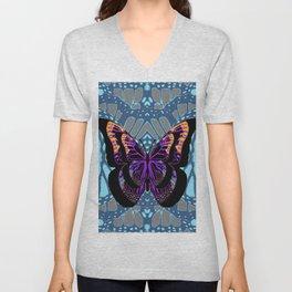 BLACK FANTASY BUTTERFLY on blue abstract pattern Unisex V-Neck