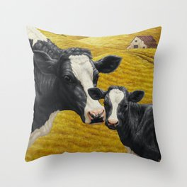 Holstein Cow and Cute Calf Throw Pillow