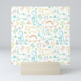 Colorful dinosaur pattern on white Mini Art Print