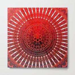 Red Flower Mandala Metal Print