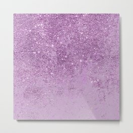 Abstract glam violet lilac marble glitter Metal Print