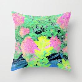 Fluorescent Golden Smoke Tree Garden Throw Pillow