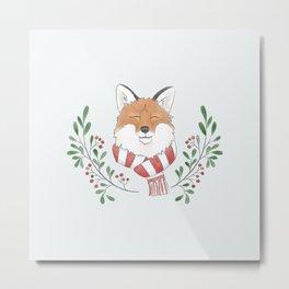 Holiday Fox Metal Print