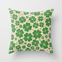 Lucky Shamrock Four-leaf Clover Pattern Throw Pillow