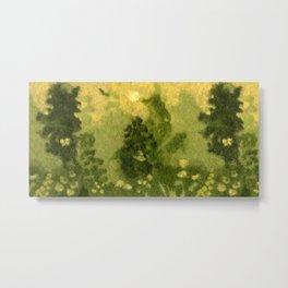 Summer Lawn, Fiber Felt Painting, Wool Texture, Yellow Green Metal Print
