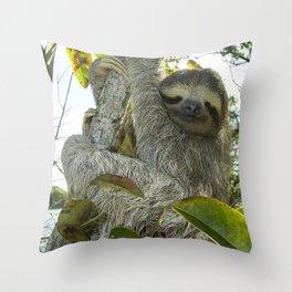 Smiling Sloth Throw Pillow