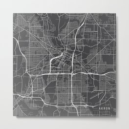 Akron Map, USA - Gray Metal Print