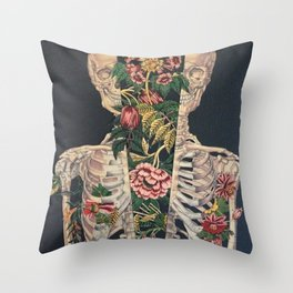 Skeleton of flowers Throw Pillow
