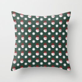 Snowman Snowflakes pattern Christmas decorations retro colors dark green background Throw Pillow