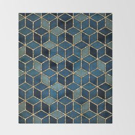 Shades Of Turquoise Green & Blue Cubes Pattern Throw Blanket