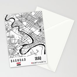 Baghdad, IRAQ Road Map Art - Earth Tones Stationery Cards