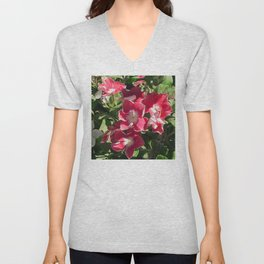 Candy Red Flowers in the Garden Unisex V-Neck