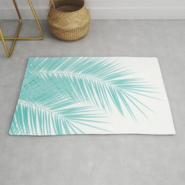 Soft Turquoise Palm Leaves Dream - Cali Summer Vibes #1 #tropical #decor #art #society6 Rug