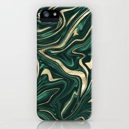 Emerald Green Black Gold Marble #1 #decor #art #society6 iPhone Case