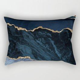 Beautiful Sapphire And Gold Marble Design Rectangular Pillow