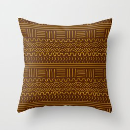 Mud Cloth on Brown Throw Pillow