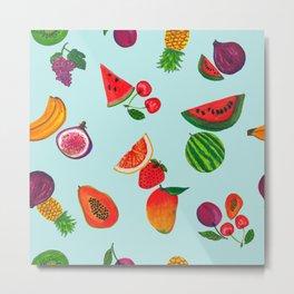 Hand drawn fruity summer time pattern aqua background Metal Print