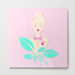 A girl with a top knot. Metal Print