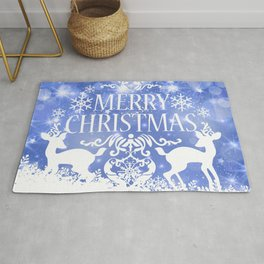 Merry Christmas Reindeers Blue Holiday Festive Rug