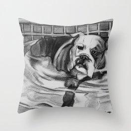 Wading Bull Dog Throw Pillow