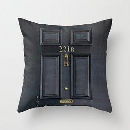 Haunted black door with 221b number Throw Pillow