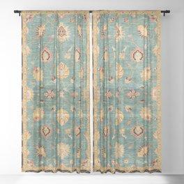 Oushak  Antique Gold Teal Turkish Rug Print Sheer Curtain