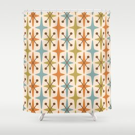 Mid Century Modern Abstract Star Pattern 441 Orange Brown Blue Olive Green Shower Curtain