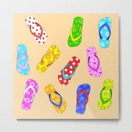 Flip Flops Pop Art Pattern Metal Print