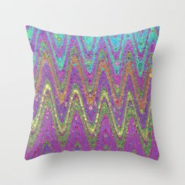 kat - retro wave design pink purple lime turquioise Throw Pillow