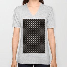 Pantone Hazelnut Thin Line Stripe Grid (Pinstripe) and Polka Dots on Black Unisex V-Neck
