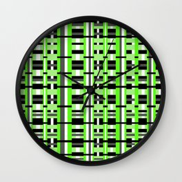 Plaid in Lime Green, Black & Gray Wall Clock