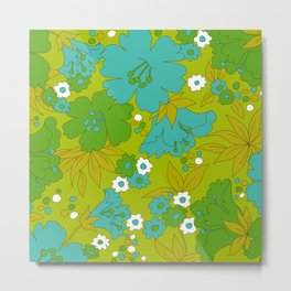 Green, Turquoise, and White Retro Flower Design Pattern Metal Print