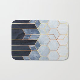 Soft Blue Hexagons Bath Mat