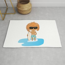 Cute Chibi Surfer Dude in Turquoise Rug