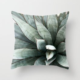 Botanical Succulents // Dusty Blue Green Desert Cactus High Quality Photograph Throw Pillow