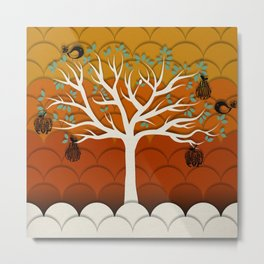 Fruits Talk White Metal Print