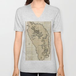 Map Of Dominica 1775 Unisex V-Neck