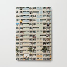 Colorful building Facade in Hong Kong - pastel color - Basketball court, Hongkong Metal Print